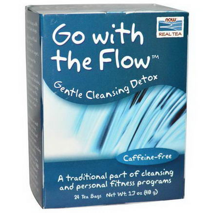 Now Foods, Go With the Flow, Gentle Cleansing Detox, Caffeine-Free, 24 Tea Bags 1.7oz (48g)