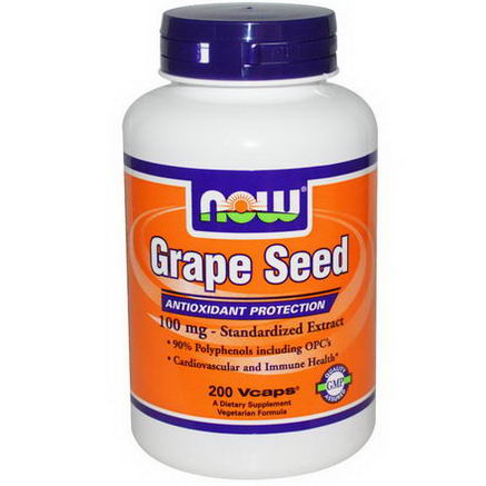 Now Foods, Grape Seed, 100mg, 200 Vcaps