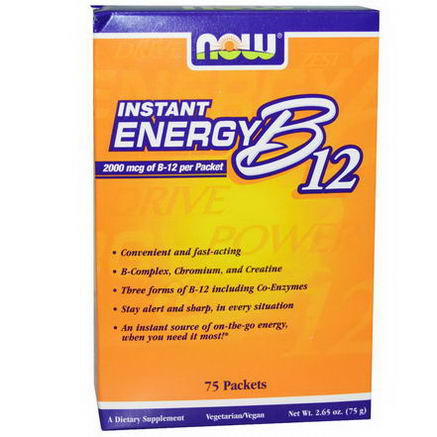 Now Foods, Instant Energy B12, 2000 mcg, 75 Packets, (1g) Each