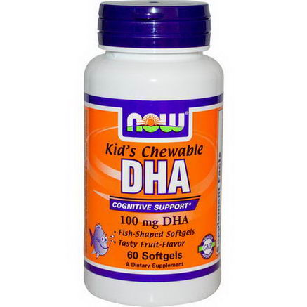 Now Foods, Kid's Chewable DHA, Fruit Flavor, 100mg, 60 Softgels
