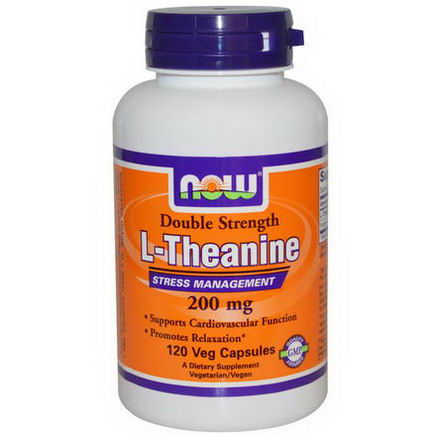 Now Foods, L-Theanine, Double Strength, 200mg, 120 Veggie Caps