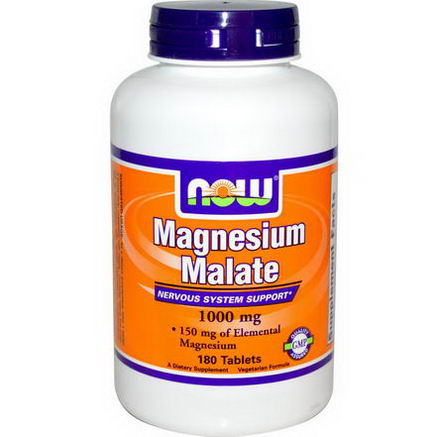 Now Foods, Magnesium Malate, 1000mg, 180 Tablets