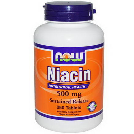 Now Foods, Niacin, Sustained Release, 500mg, 250 Tablets