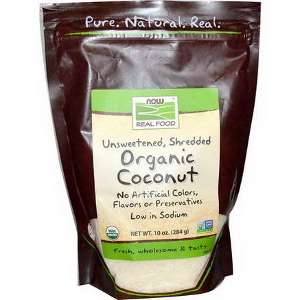 Now Foods, Organic Coconut, Shredded, Unsweetened, 10oz (284g)