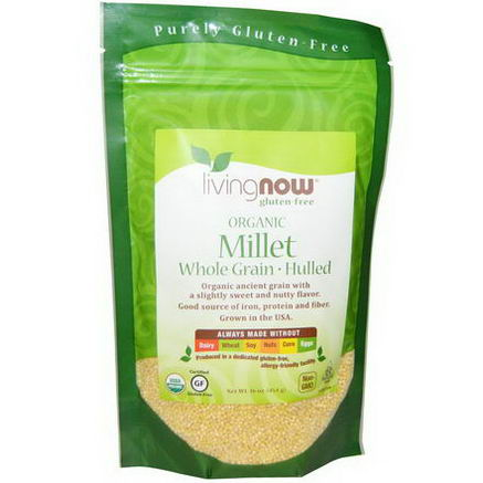Now Foods, Organic Millet Whole, Gluten Free, 16oz (454g)