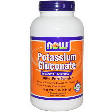 Now Foods, Potassium Gluconate, 100% Pure Powder, 1 lb (454g)