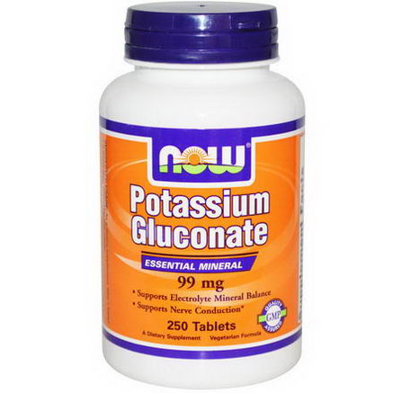 Now Foods, Potassium Gluconate, 99mg, 250 Tablets