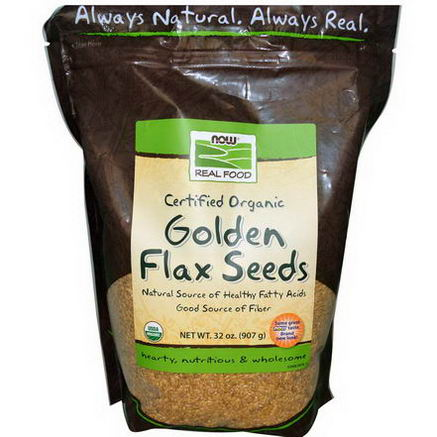Now Foods, Real Food, Certified Organic Golden Flax Seeds, 32oz (907g)