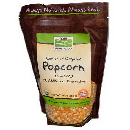 Now Foods, Real Food, Certified Organic Popcorn, 24oz (680g)