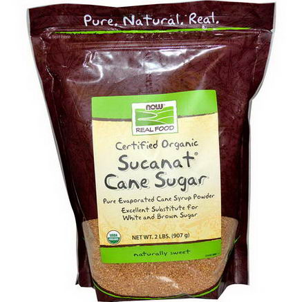 Now Foods, Real Food, Certified Organic Sucanat Cane Sugar, 2 lbs (907g)