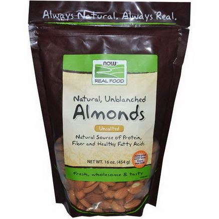 Now Foods, Real Food, Natural, Unblanched Almonds, Unsalted, 16oz (454g)
