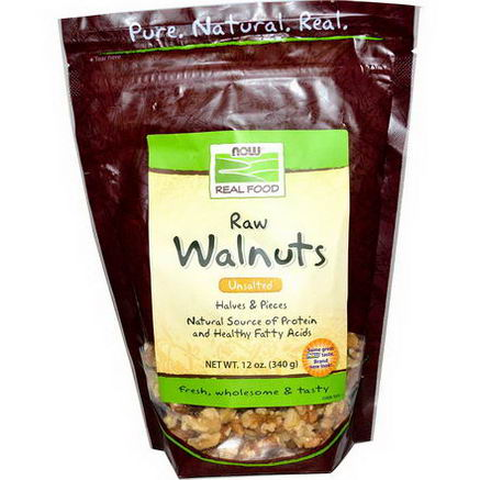 Now Foods, Real Food, Raw Walnuts, Unsalted, 12oz (340g)