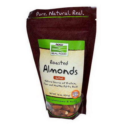 Now Foods, Real Food, Roasted Almonds, with Sea Salt, 16oz (454g)