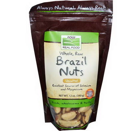 Now Foods, Real Food, Whole, Raw Brazil Nuts, Unsalted, 12oz (340g)