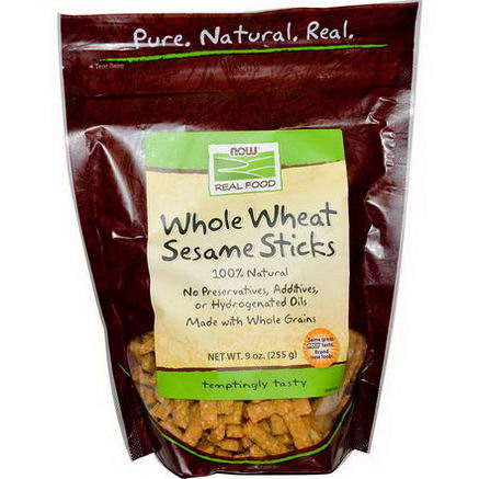 Now Foods, Real Food, Whole Wheat Sesame Sticks, 9oz (255g)