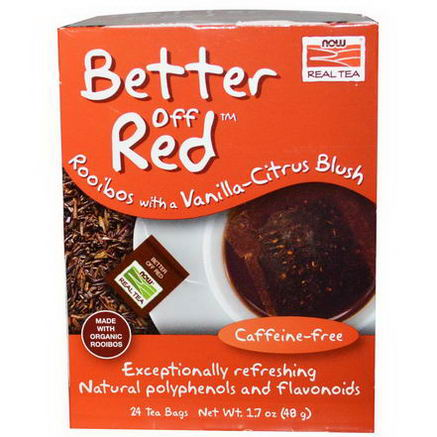 Now Foods, Real Tea, Better Off Red, Rooibos with Vanilla-Citrus Blush, Caffeine-Free, 24 Tea Bags, 1.7oz (48g)