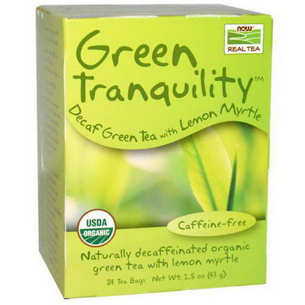 Now Foods, Real Tea, Organic, Green Tranquility, Decaf Green Tea, Caffeine Free, 24 Tea Bags, 1.5oz (43g)