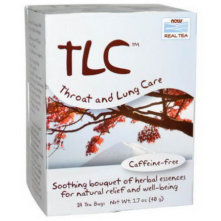 Now Foods, Real Tea, TLC, Throat and Lung Care Tea, Caffeine Free, 24 Tea Bags, 1.7oz (48g)
