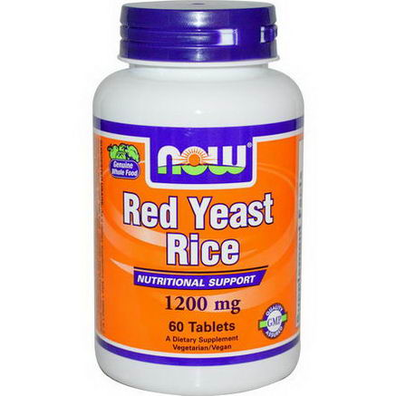 Now Foods, Red Yeast Rice, 1200mg, 60 Tablets