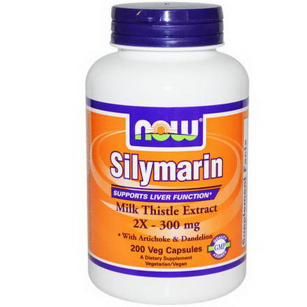 Now Foods, Silymarin, Milk Thistle Extract, 2X - 300mg, 200 Veggie Caps