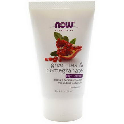 Now Foods, Solutions, Green Tea & Pomegranate Night Cream, 2 fl oz (59 ml)