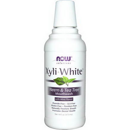 Now Foods, Solutions, Xyli-White, Neem & Tea Tree Mouthwash, with Mint Flavor, 16 fl oz (473ml)