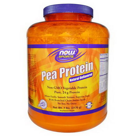 Now Foods, Sports, Pea Protein, Natural Unflavored, 7 lbs (3175g)