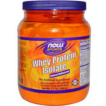 Now Foods, Sports, Whey Protein Isolate, Powder, Natural Unflavored, 1.2 lbs (544g)