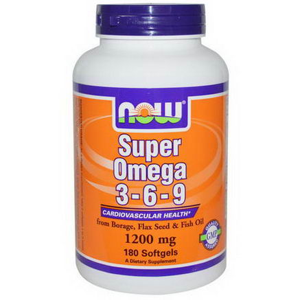 Now Foods, Super Omega 3 - 6 - 9, 1200mg, 180 Softgels