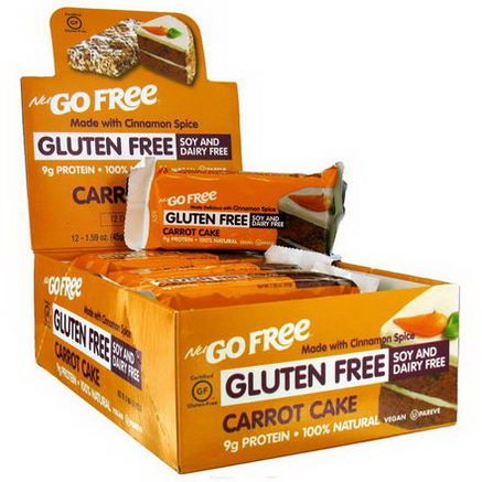 NuGo Nutrition, Carrot Cake, Gluten Free, 12 Bars, 1.59oz (45g) Each