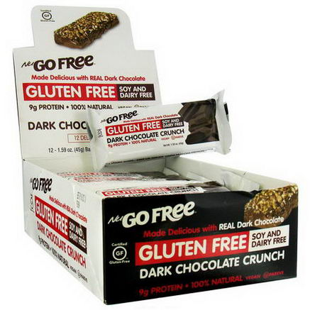 NuGo Nutrition, Free, Gluten Free, Dark Chocolate Crunch, 12 Bars, 1.59oz (45g) Each