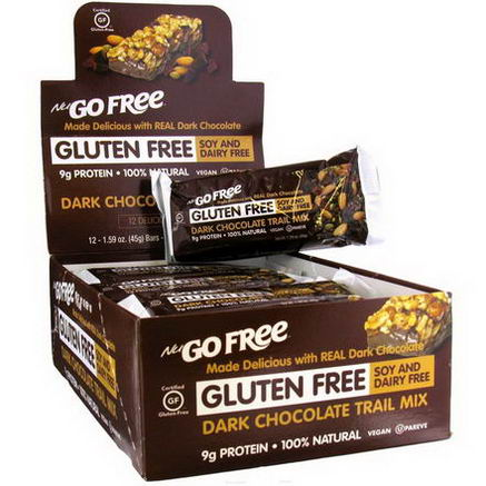 NuGo Nutrition, Free, Gluten Free, Dark Chocolate Trail Mix, 12 Bars, 1.59oz (45g) Each