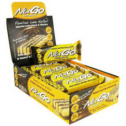 NuGo Nutrition, Nutrition To Go, Peanut Butter Chocolate Bars, 15 Bars, 1.76oz (50g) Each