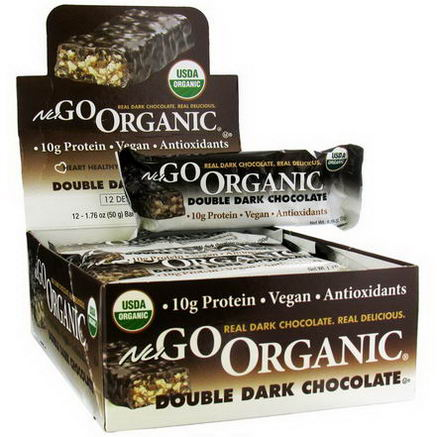 NuGo Nutrition, Organic Double Dark Chocolate, 12 Organic Protein Bars, 1.76oz (50g) Each