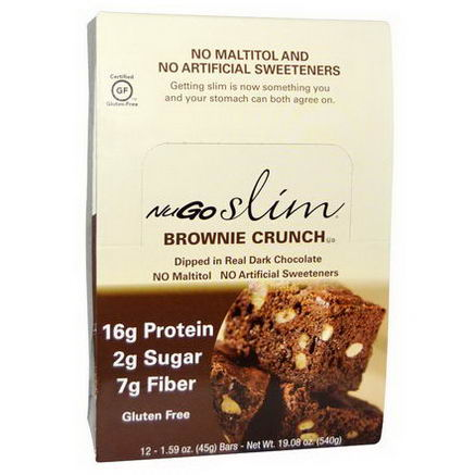NuGo Nutrition, Slim, Brownie Crunch, Gluten-Free, 12 Bars, 1.59oz (45g) Each