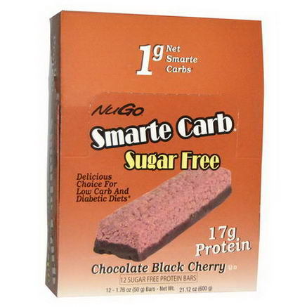 NuGo Nutrition, Smarte Carb, Chocolate Black Cherry, Sugar Free, 12 Bars, 1.76oz (50g) Each