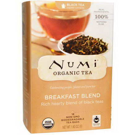 Numi Tea, Organic Black Tea, Breakfast Blend, 18 Tea Bags, 1.40oz Each