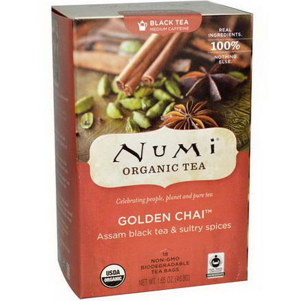 Numi Tea, Organic Black Tea, Medium Caffeine, Golden Chai, 18 Tea Bags, 1.65oz (46.8g)