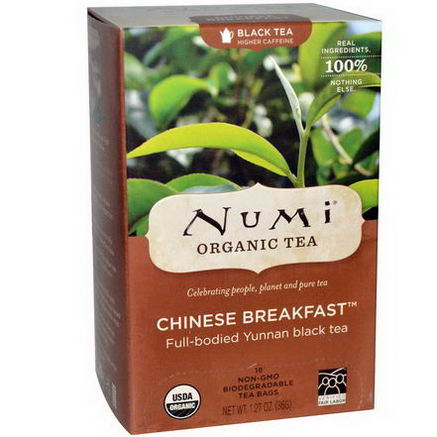 Numi Tea, Organic, Chinese Breakfast, Black Tea, 18 Tea Bags, 1.27oz (36g)