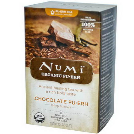Numi Tea, Organic, Chocolate PuErh, 16 Tea Bags, 1.24oz (35.2g)