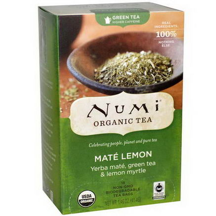 Numi Tea, Organic Green Tea, Higher Caffeine, Mate Lemon, 18 Tea Bags, 1.46oz (41.4g)
