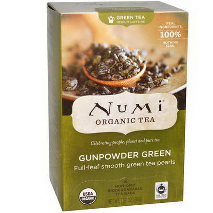 Numi Tea, Organic Green Tea, Medium Caffeine, Gunpowder Green, 18 Tea Bags, 1.27oz (36g)