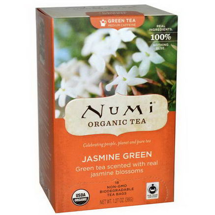 Numi Tea, Organic Green Tea, Medium Caffeine, Jasmine Green, 18 Tea Bags, 1.27oz (36g)