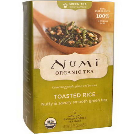 Numi Tea, Organic Green Tea, Toasted Rice, 18 Tea Bags, 1.65oz (46.8g) Each