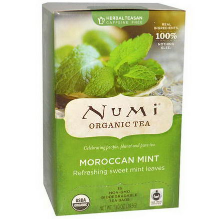 Numi Tea, Organic Herbal Teasan, Caffeine Free, Moroccan Mint, 18 Tea Bags, 1.40oz (39.6g)