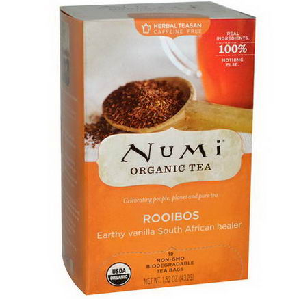 Numi Tea, Organic Herbal Teasan, Caffeine Free, Rooibos, 18 Tea Bags, 1.52oz (43.2g)