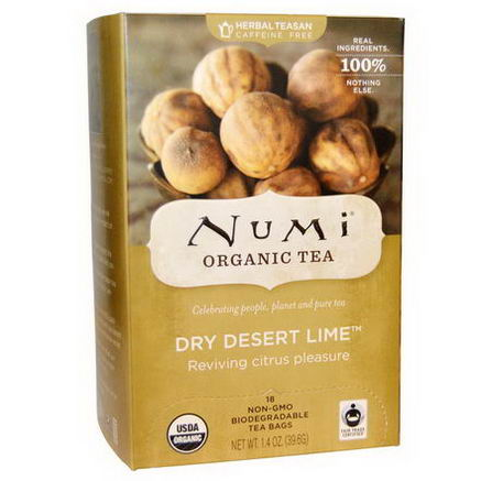 Numi Tea, Organic Herbal Teasans, Dry Desert Lime Tea, 18 Tea Bags, 1.4oz (39.6g) Each