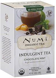 Numi Tea, Organic, Indulgent Tea, Chocolate Mint, 12 Tea Bags, 1.38oz (39g)