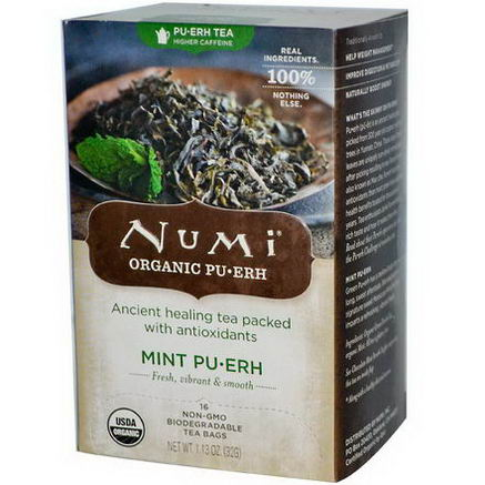 Numi Tea, Organic, Mint PuErh, 16 Tea Bags, 1.13oz (32g)