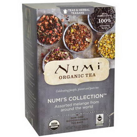 Numi Tea, Organic Numi's Collection, Teas & Herbal Teasans, 18 Tea Bags, 1.40oz (39.6g)